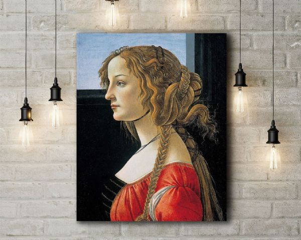 Botticelli: Portrait of a Young Womans. Fine Art Canvas.